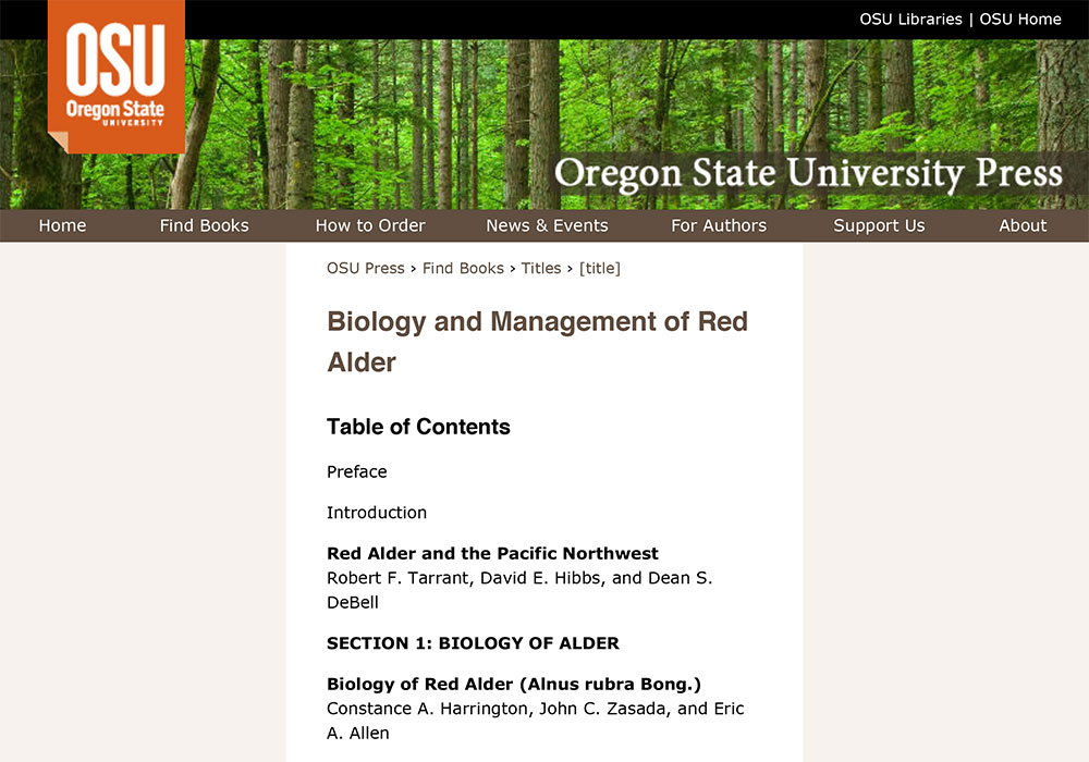 Biology and Management of Red Alder Chapter Editing