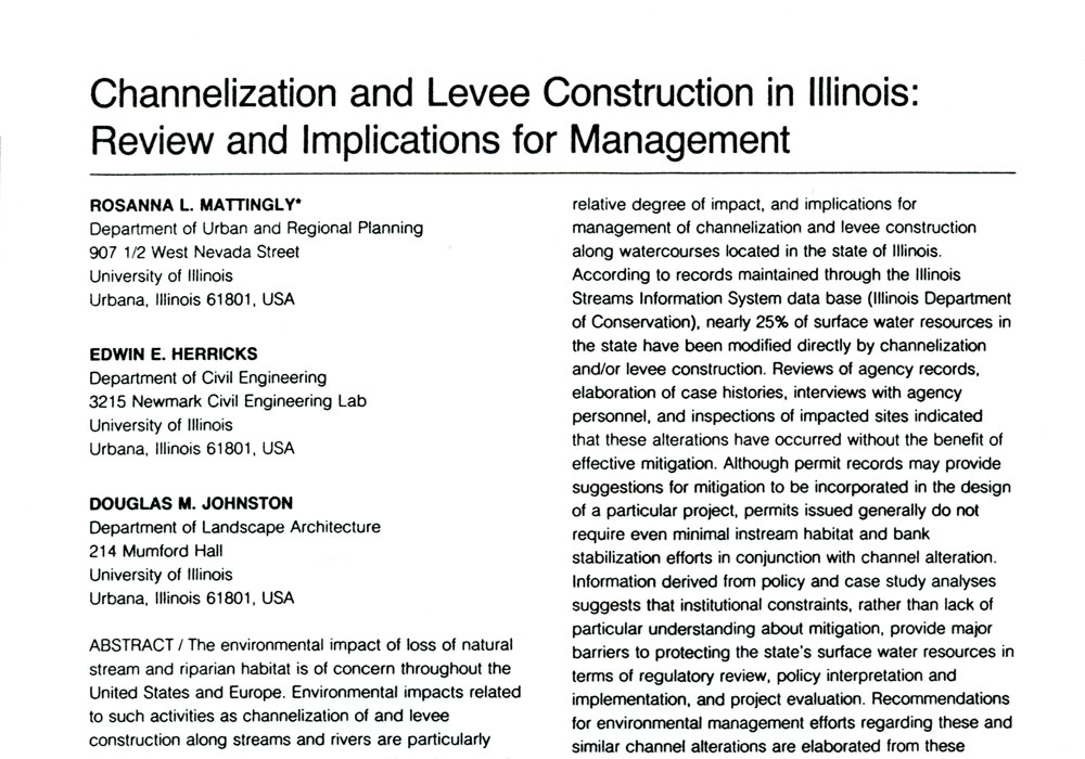 Research on Channel Alterations in Illinois