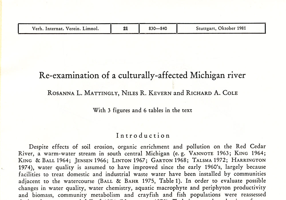 Research on the Red Cedar River, Michigan